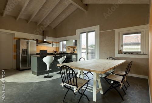 interior, view of dining table and kitchen