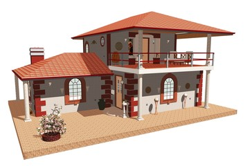Casa con Terrazza Aperta-Home with Terrace-3d