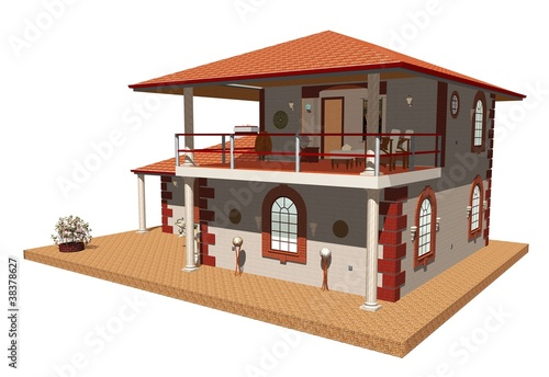 Casa con Terrazza Aperta-Home with Terrace-3d-2