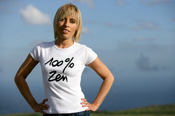 Blond woman with attitude, stood outdoors
