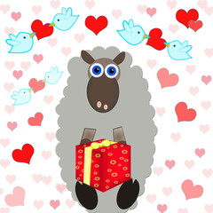 FUNNY BACKGROUND WITH SHEEP HOLDIN PRESENT