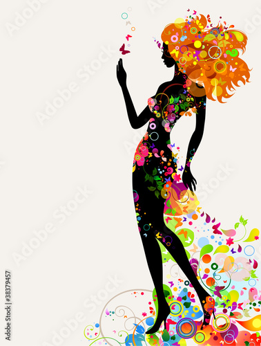 Poster Bloemen vrouw Summer decorative composition with girl