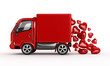 3D red van and valentine hearts