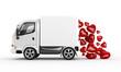 3D white van and valentine hearts