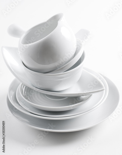 stack of clean white dishes