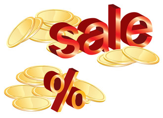 Gold coins illustration, sale and percent