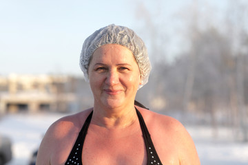 Woman after winter swimming