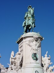 The statue of Sao Jorge in Lisbon in Potugal