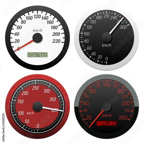Set of speedometer. Vector illustration.