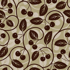 Seamless cherry with leaf background