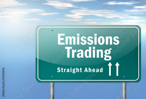 "Highway Signpost ""Emissions Trading"""