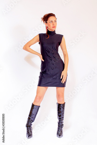 Attractive woman wearing little black dress
