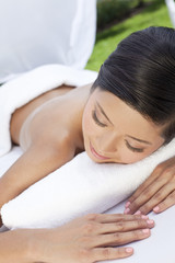 A Young Woman Relaxing Outside At Health Spa