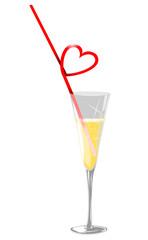 verre à champagne avec paille en coeur