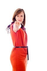 Woman rude gesturing with middle finger