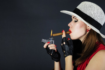 beautiful bright girl with cigar