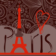 Love in Paris background, decorative Paris word with Eiffel towe