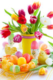 Fototapety tulips and easter eggs