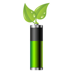 Clean energy battery over white background