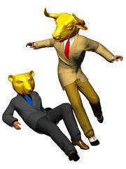 zwei börsenmakler als bulle und bär