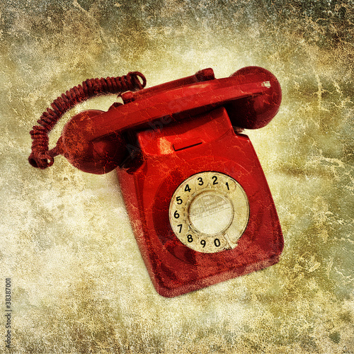 retro red phone print