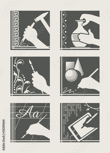 set of art occupation vector illustration