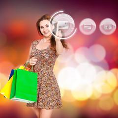 junge Frau wählt Kreditkarte als Bezahlvariante aus