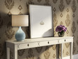 Vintage white table, stylish interior baroque wallpaper