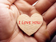Small paper heart in arm with text: I love You