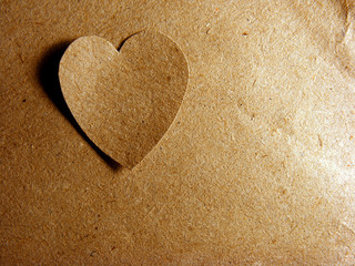Paper hearts over paper sheet