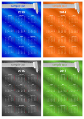 4 years 2013-2014-2015-2016 calendars of different colors