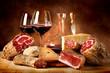 canvas print picture - Insaccati con formaggio e vino rosso