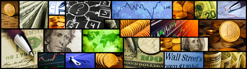 World finance system collage. Large format.