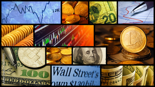 World finance system collage.
