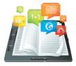 e-learning concept - electronic book - vector