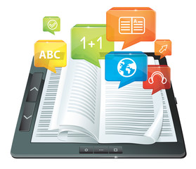 e-learning concept - electronic book - vector