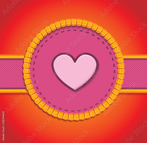 round patch with heart - vector illustration