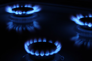 Three flames of a gas stove