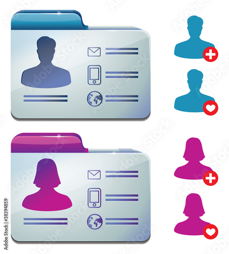 female and male profile for social media - vector illustration