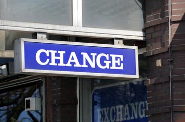 Change, Wechselstube, Geldumtausch, Währung, Euro, Dollar, Pfund