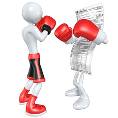 Boxer Fighting Tax Form
