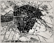 Historical map of Berlin, Germany.