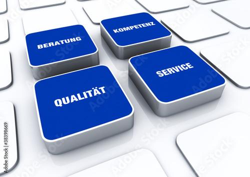 Quader Konzept Blau - Beratung Kompetenz Qualität Service 1