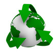 recycling arrows and globe. Isolated 3d image