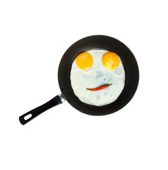 Smiley egg on a pan