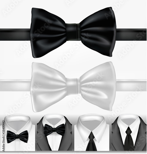 Black and white tie. Vector illustration