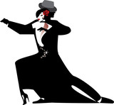 Fototapety silhouette of couple dancing tango