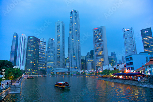 Historic Boat Quay, on the southern bank of the Singapore River.