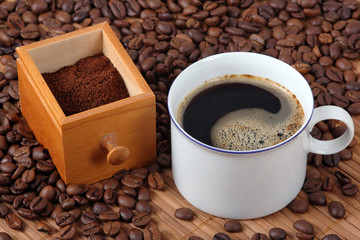 Fresh coffee with coffee beans