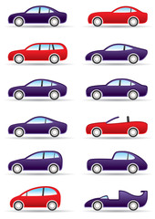 Different types of modern cars - vector illustration
